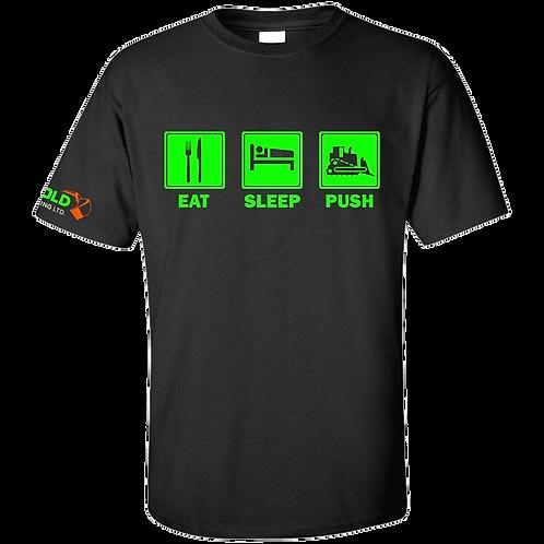 Black Eat-Sleep-Push T-Shirt NEON