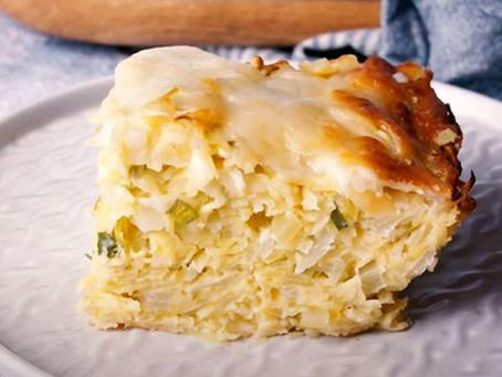 Заливной пирог с капустой и сыром