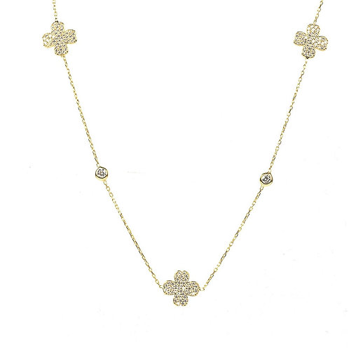 Lucky Four Leaf Clover Necklace Long Gold