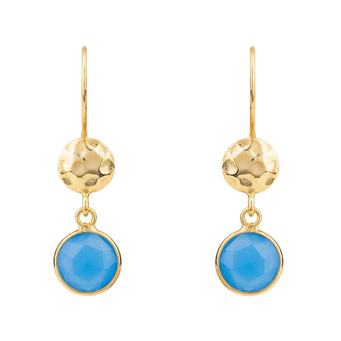 Circle & Hammer Drop Earrings Gold Dark Blue Chalcedony