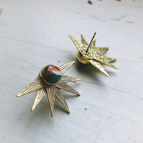Sun Goddess Earrings With Copper Oyster Turquoise