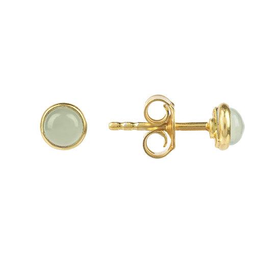 Petite Stud Earring Gold Aqua Chalcedony