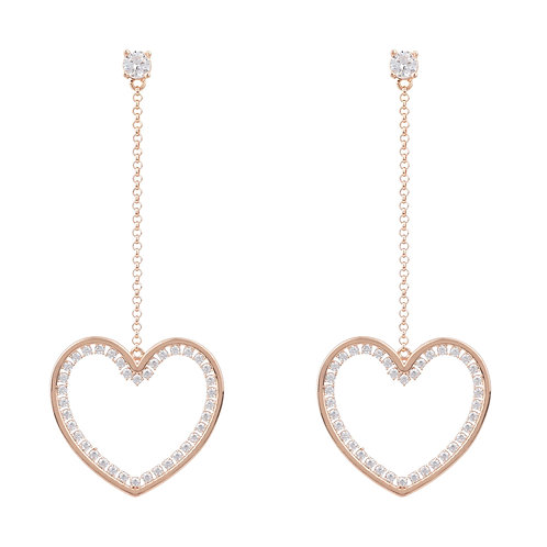 Heart Big Drop Earrings Rosegold