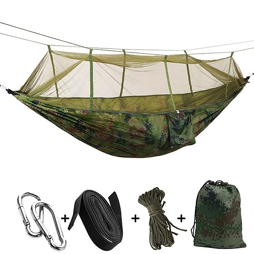 1-2 Person Portable Outdoor Camping Hammock with Mosquito Net High Strength Par