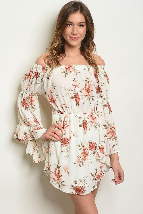 AVICII SWISS Ivory Floral Off Shoulder Dress