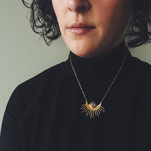 Sun Goddess Necklace - Gold Sun Pendant With Copper Oyster Turquoise