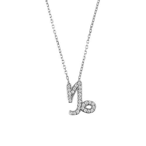 Zodiac Star Sign Pendant Necklace Silver Capricorn