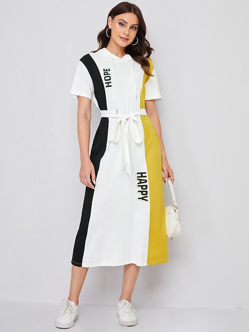 AVICII SWISS Letter Graphic Colorblock Belted Drawstring Hooded Dress