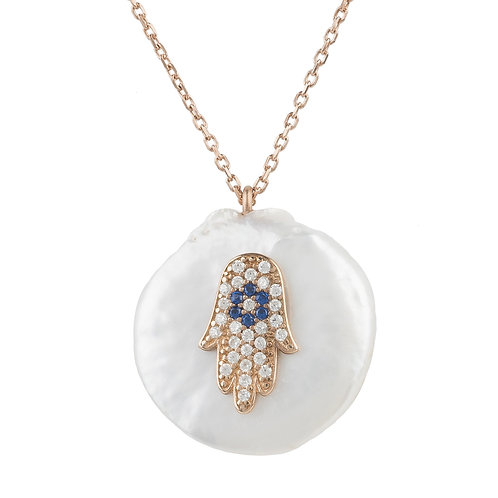 Hamsa Pearl Pendant Necklace Rosegold