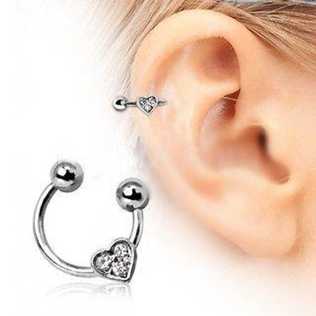 Horseshoe Cartilage Earring With Gemmed Heart