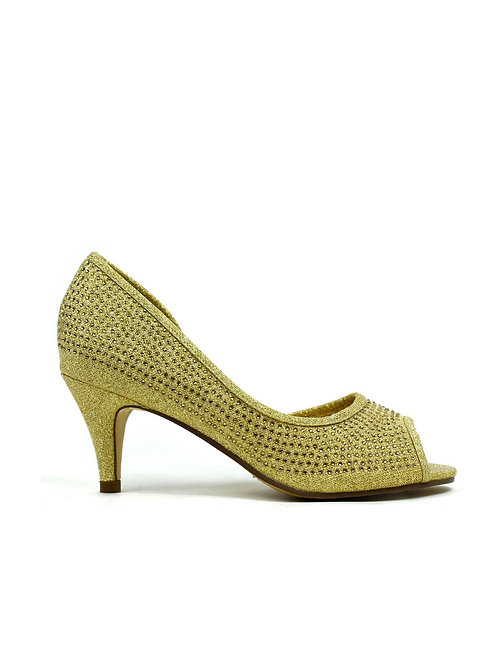 Open Side Kitten Heel  Gold
