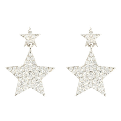 Star Double Drop Earring Silver