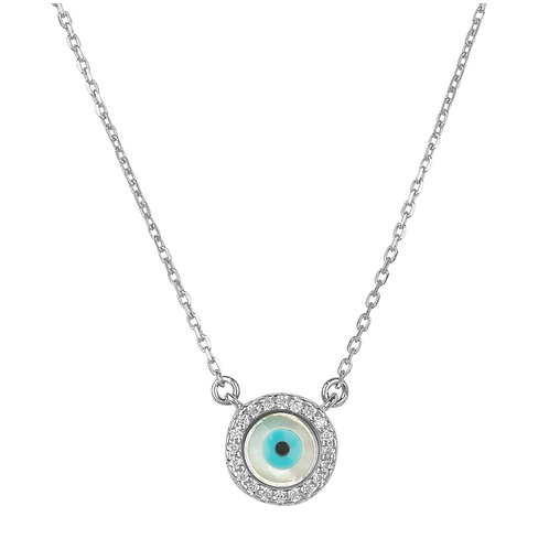 Evil Eye Mother of Pearl Necklace CZ Silver
