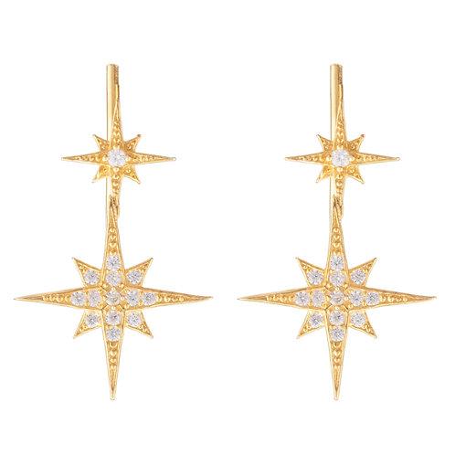 Star Bursts Ear Climber Pair Gold