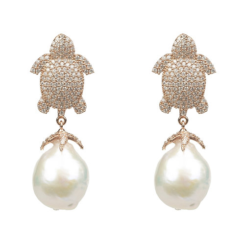Baroque Pearl White Turtle Drop Earring Rose Gold