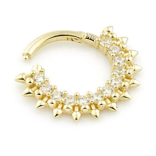 Solid Gold 12 Gem Daith Piercing Ring