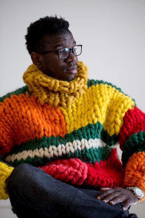 AVICII SWISS Chunky knit sweater. Mens sweater. Big knit turtleneck. Giant knit