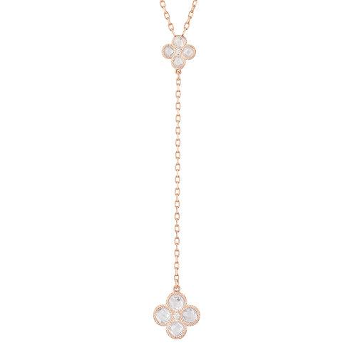 Flower Clover Double Drop Pendant Necklace Rosegold