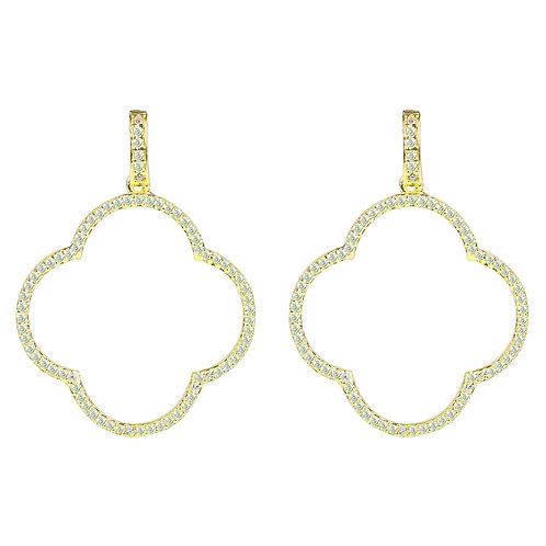Open Clover Large Drop Earrings White CZ Gold