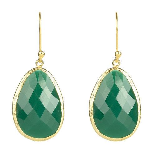 Single Drop Earring Green Onyx Gold