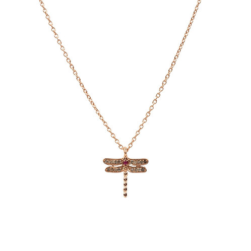 Diamond & Ruby Dragonfly Necklace Rosegold