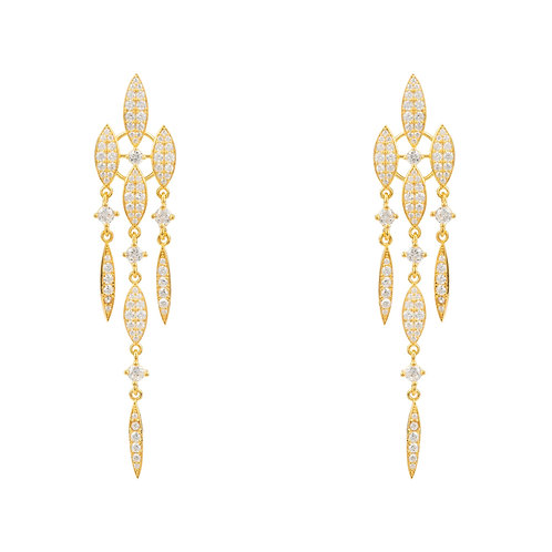Valencia Statement Drop Earring White CZ Gold