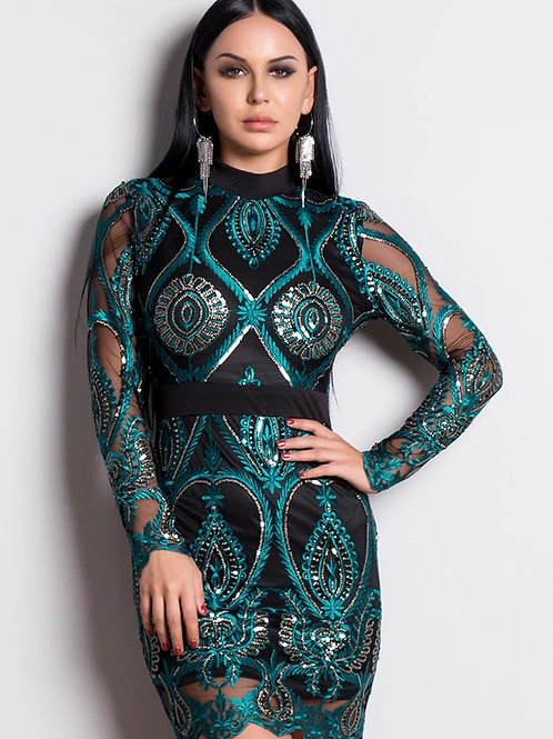 AVICII SWISS Green Sequin Party Dress