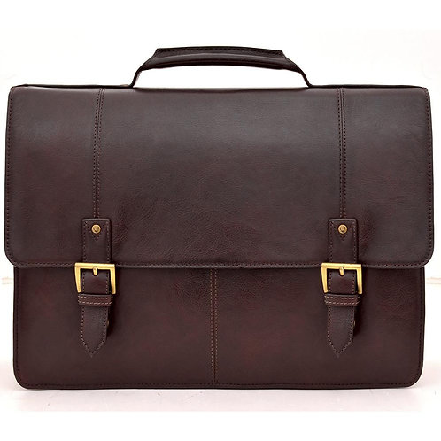 """Charles Double Gusset 17"""" Leather Laptop Briefcase"""