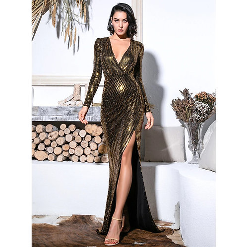 Sasha Gold Sequin Gown AVICII SWISS Evelyn Belluci Collaboration