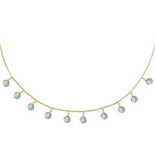 Florence Round Gemstone Necklace Gold Blue Topaz