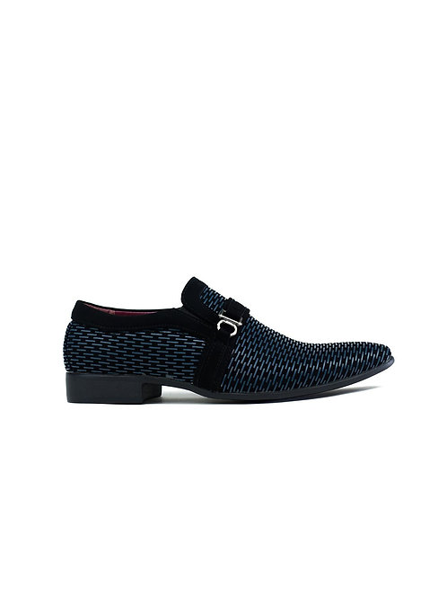 Men's Contrast Buckle Trim Formal Shoes Black/Navy