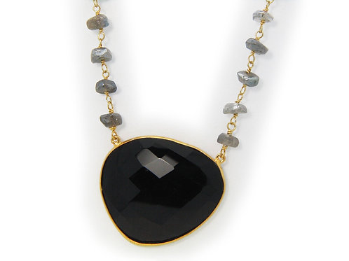 "Black Onyx & Labradorite Sterling Silver Necklace, 16"""