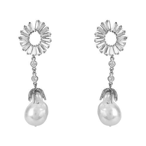 Baroque Pearl Baguette Drop Earrings Silver