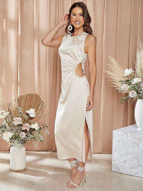 AVICII SWISS Cut Out Waist Split Thigh Dress
