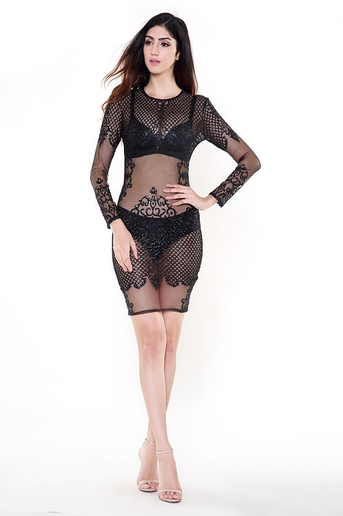 Black See Thru Dress AVICII SWISS - Evelyn Belluci Collaboration