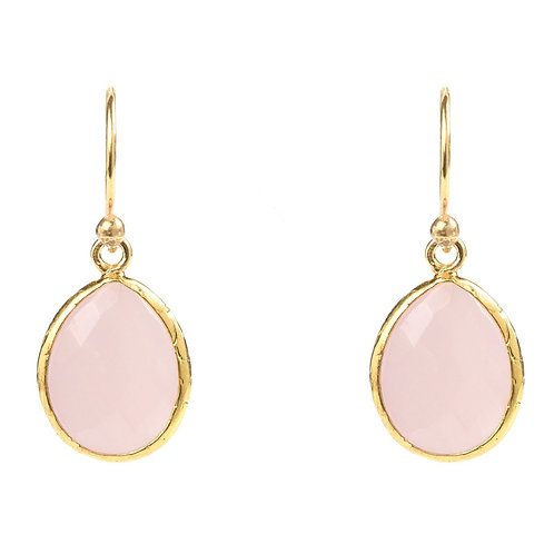 Petite Drop Earring Rose Quartz Gold