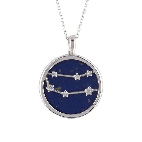 Zodiac Lapis Lazuli Gemstone Star Constellation Pendant Necklace Silver Gemini