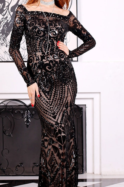 Black Sequin Evening Gown AVICII SWISS Evelyn Belluci Collaboration
