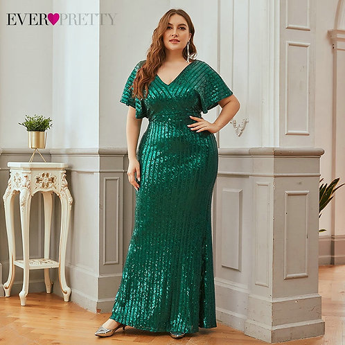 Plus Size Dark Green Evening Dresses Short Sleeve Sexy Long Party