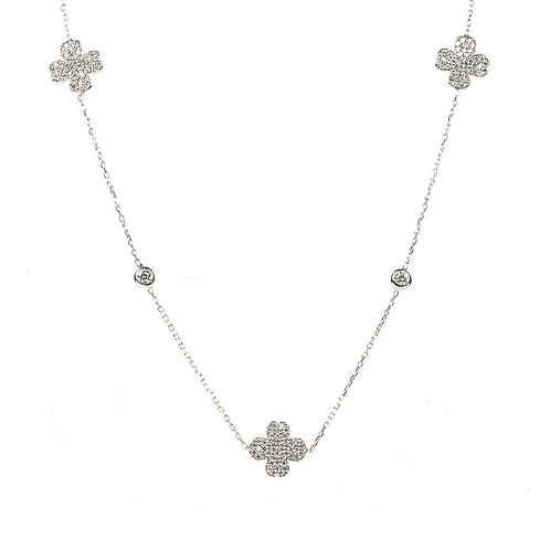 Lucky Four Leaf Clover Necklace Long Silver