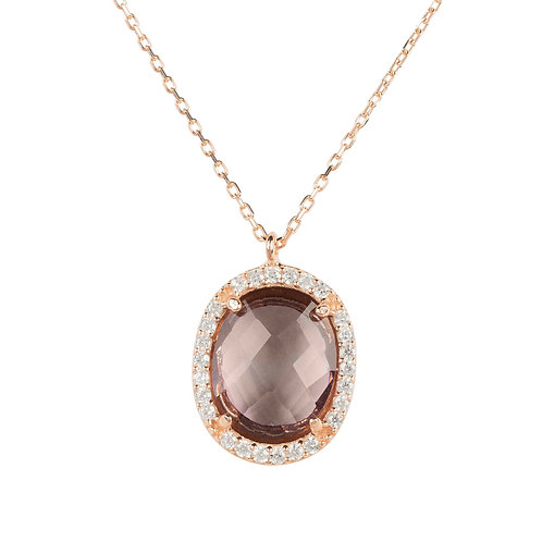 Beatrice Oval Gemstone Pendant Necklace Rose Gold Amethyst Hydro