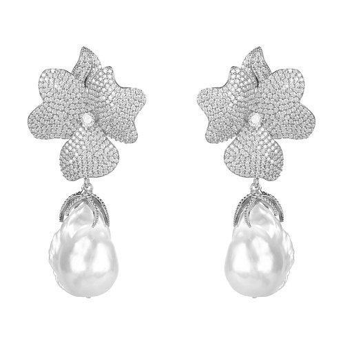 Baroque Pearl White Flower Drop Earring Silver