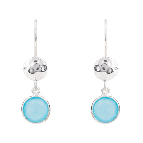 Circle & Hammer Drop Earrings Silver Aqua Chalcedony