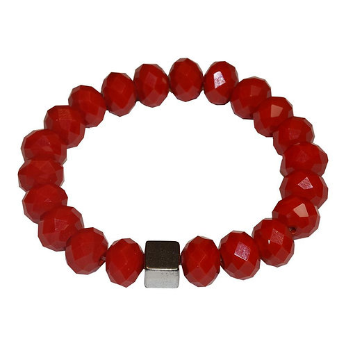 Cube Hematite Bracelet - Cherry