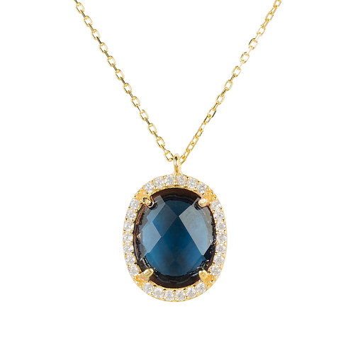 Beatrice Oval Gemstone Pendant Necklace Gold Sapphire Hydro