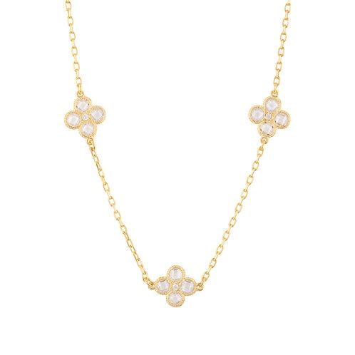 Flower Clover Triple Choker Necklace Gold