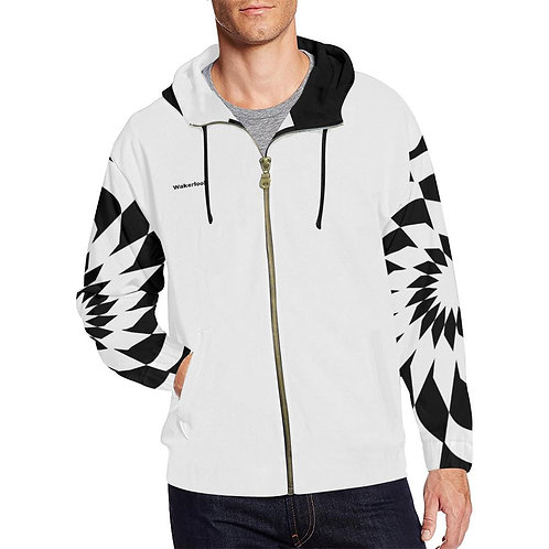Wakerlook Men's White Spiral Print Full Zip Hoodie