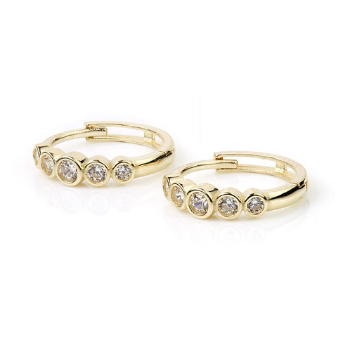 9ct Gold Graduated Crystal 12mm Cartilage Huggie Earring
