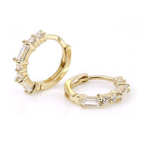 9ct Gold Baguette Crystal Cartilage Huggie Earring