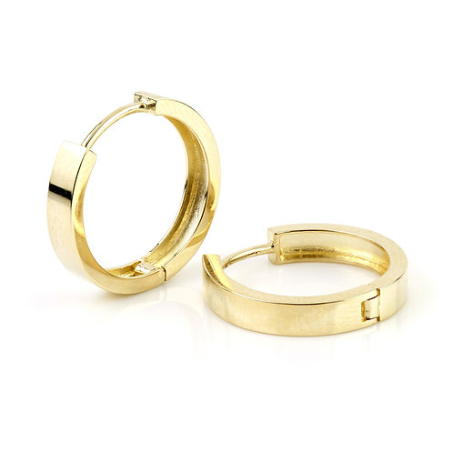 9ct Gold Flat Plain 17mm Hoop Earrings
